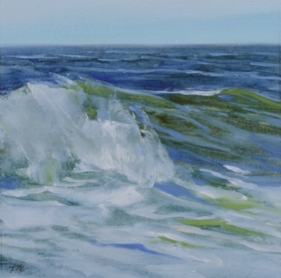 TM8321 Watching the Waves Come In #123 6x6 oil on paper