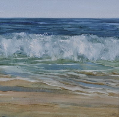 TM8322 Watching the Waves Come In #124 6x6 oil on paper