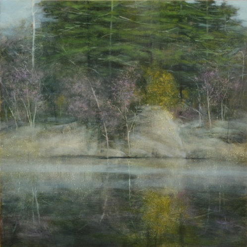 TM8342 Gentile April at the Pond 22x22 oil on panel