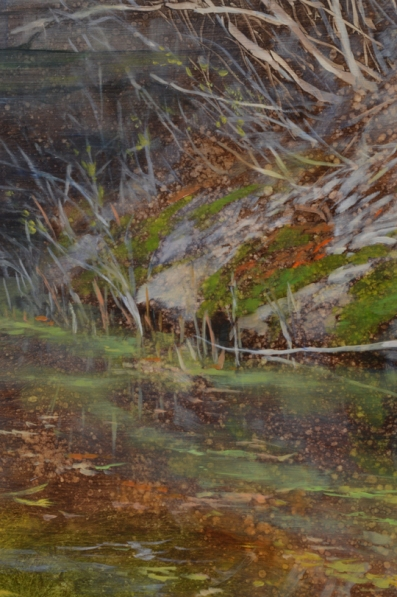 TM8350 May at the Upper Falls 22x24 oil on panel  (detail of tree trunks, water)