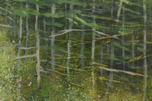 TM8351 Ode to a May Afternoon 24x24 oil on panel (detail of woods from middle right)