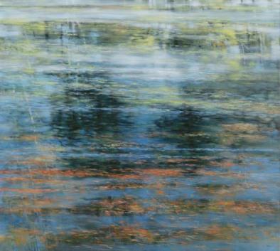 TM8515 Meditation on Floating Pine Needles 36x40 oil on panel