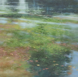 TM8338 May Morning at the Pond 36x36 oil on panel