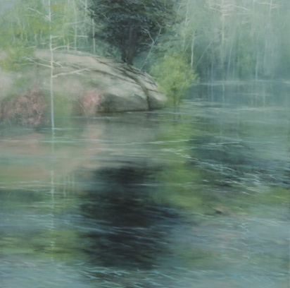 TM8175 Fogged Morning at the Pond 24x24 oil on panel