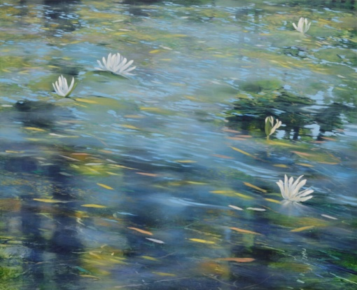 TM8370 First Lilies 36x44 oil on panel