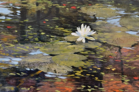 TM8389 Autumn's Mirror (flower and lily pads detail)