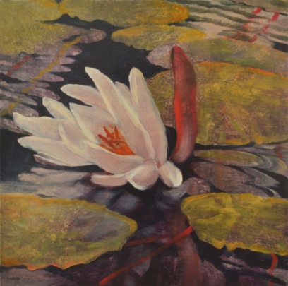 TM8418 September's Lily 12x12 oil on panel