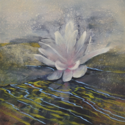 TM8421 Lily Bursting into Song 12x12 oil on panel