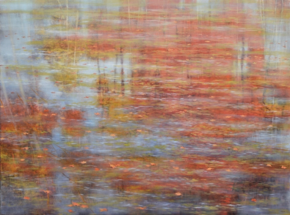 TM8440 October Morning at the Pond 36x48 oil on panel