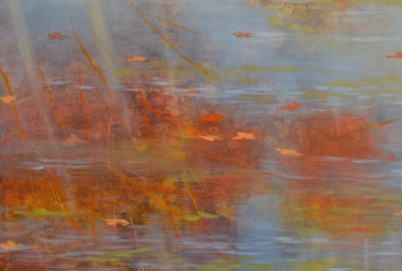 TM8440 October Morning at the Pond - detail from center left edge with reflections and floating leaves