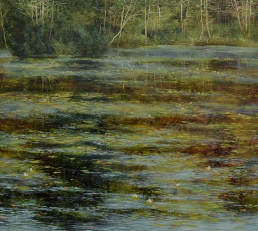 TM8449 Summer Morning at the Pond 36x40 oil on panel