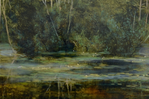 TM8449 Summer Morning at the Pond - detail from upper left showing water's edge