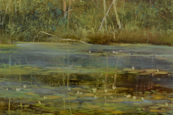 TM8449 Summer Morning at the Pond - detail from far right bank with vegetation and lilies