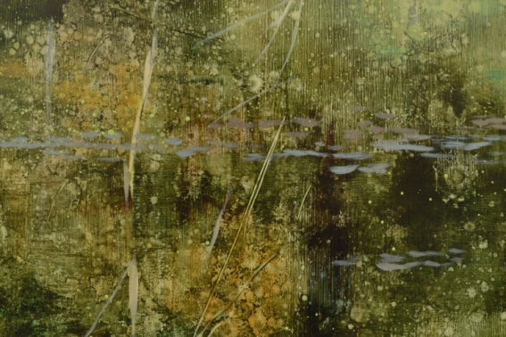 TM8445 Arboreal Reflections - detail from left side showing textures created with rbrayer, direct painting, assorted spatter techniques, and use of transparent glazes