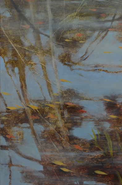 TM8446 Of water, and thereabouts - detail from left side with tree and sky reflections, thin ice melting