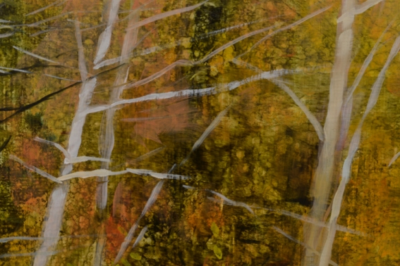 TM8447 Path to the Pond - September  - close-up showing textural underpainting, use of glazes, watercolor effects