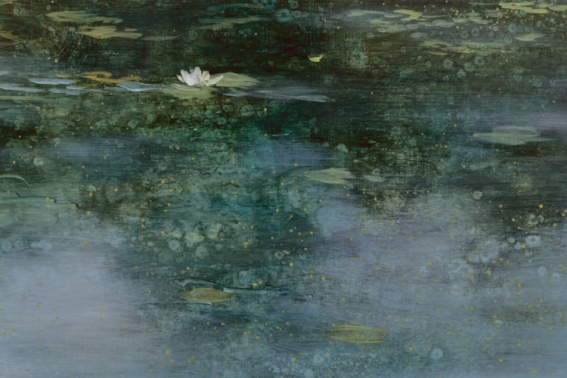 TM8444 The Source - detail from foreground with lily and sky reflection