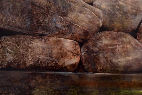 TM8456 Homage - detail of boulders and water