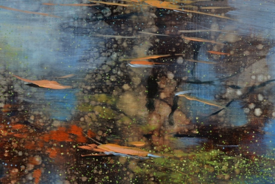 TM8458 Late autumn Poem - detail from upper right center showing reflected tree trunks, floating leaves, duckweed