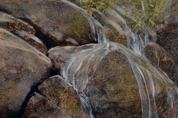 TM8456 Homage - detail of water sheeting over boulders