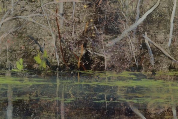 TM8476 George Is Back! - detail from right of center showing waterline, skunk cabbage, and thicket, achieved through use of pressed textures, scraping, blotting, direct painting, and glazing