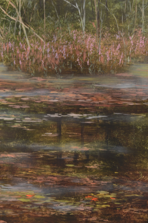 TM8478 Last Days of Summer - detail from right showing shadowed side of pond with loosestrife and reflections