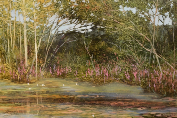 TM8478 Last Days of Summer - detail from center of shore line showing loosestrife, lilies, and duckweed