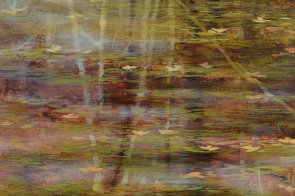 TM8479 October's Poem - detail from upper left with reflected tree trunks (some directly painted, some scraped out)