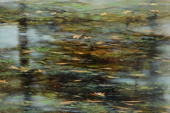 TM8481 The Moments Coalesce - detail from upper left quadrant with vegetation floating on the surface,  reflections showing through