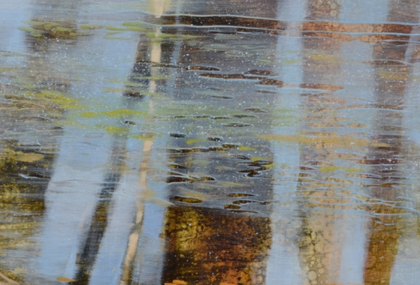 TM8490 Inside June - close-up showing first layer of paint textures in tree trunks and film on water achieved through use of layered glazes with scraping and fine spattering