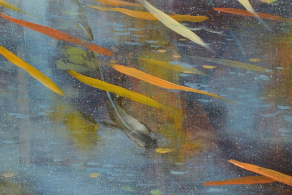 TM8491 They Come in Pairs - detail from lower left showing layered reflections and use of layered, fine spattering