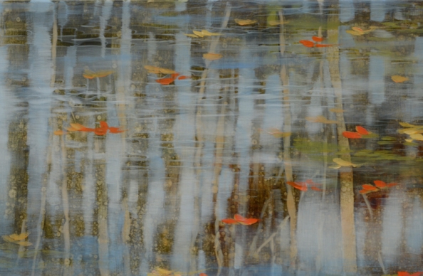 TM8506 September's Poem - detail from upper left corner showing pond scum, reflections, use of scraping into wet glaze