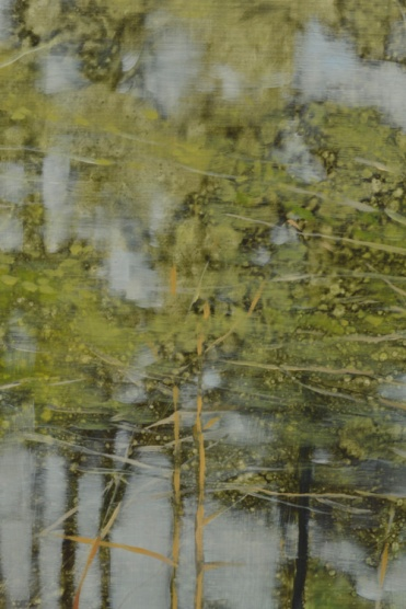 TM8507 Woodland Rain - detail showing blur effect created by repeatedly rolling the first layer paint and solvents, then glazing color on top