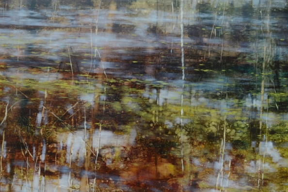 TM8510 Meditation on a Looking Glass - detail from center showing reflected sky and trees (also showing use of scraping into wet paint, monoprint techniques, re-rolling of drips and spatters)
