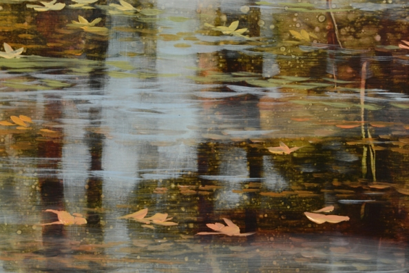 TM8512 Confetti Days - detail with floating leaves, tree trunk reflections