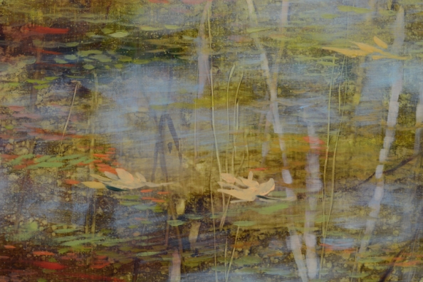 TM8462 Spring Redeems - detail showing layered construction of painting, use of semi-transparent glazes, scraping into wet paint, opaque highlights