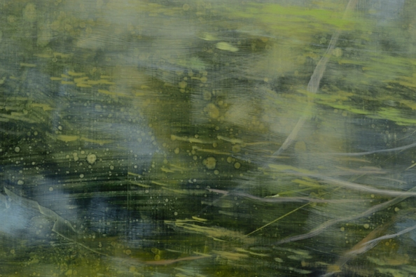 TM8519 Poem in Green and Gold - detail showing layered development of painting