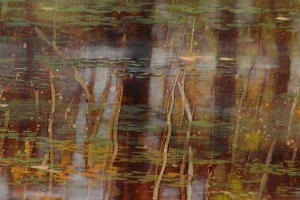 TM8520 Pausing Time - detail from upper right of painting showing reflections, use of scraping and monoprint techniques in layers