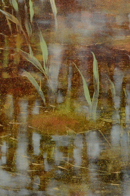 TM8530 September's Song - detail showing grasses, lily pad, reflections