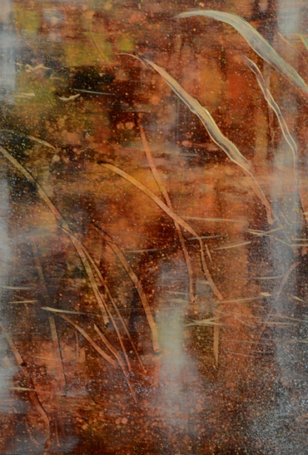 TM8530 September's Song - detail froml ower left showing use of scraping, layered glazes, layered spattering