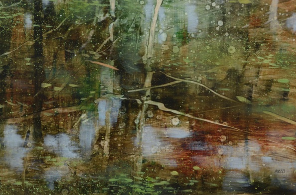 TM8542 Arboreal Reflection #3 - detail from lower right showing reflections, use of scraping out paint for tree branches