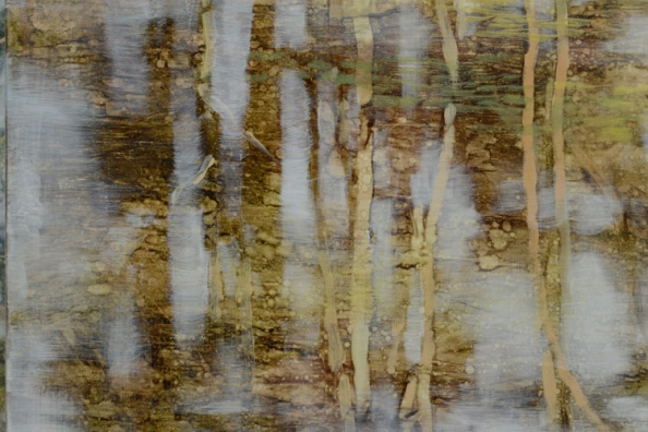 TM8544 Pond Logic - detail from upper left corner showing layered textures and thinly painted negative sky shapes