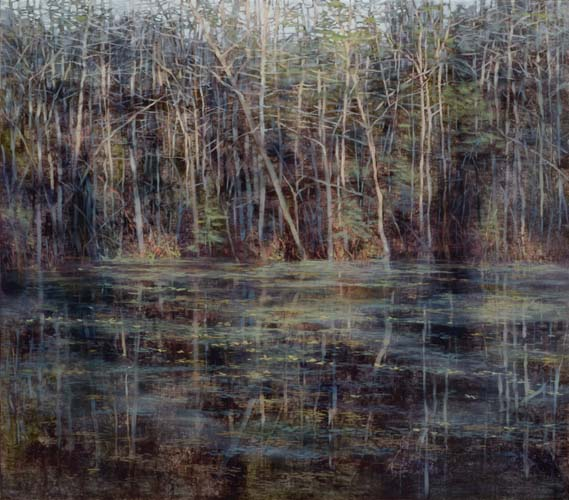 TM8550 Early Morning at the Pond 28x31.75 oil on panel