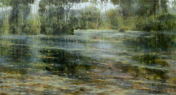 TM8509 Late Summer at the Pond 30x54 oil on panel