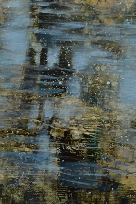 TM8555 Morning Reaches the Pond - detail from lower right showing layered textures and use of transparent pigments