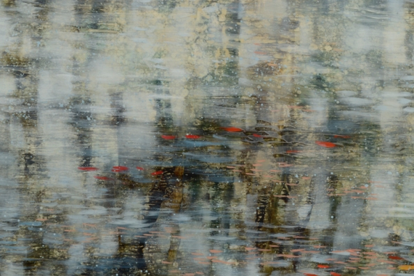 TM8555 Morning Reaches the Pond - detail showing layers, use of additive and subtractive techniques