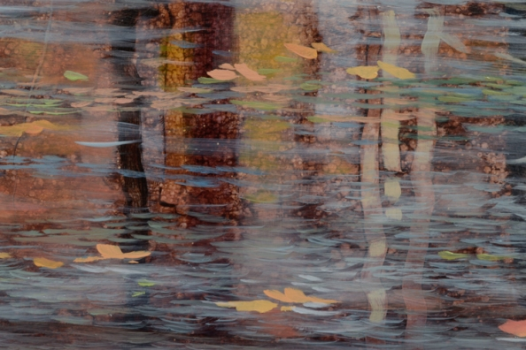 """TM8558 Watching Time - Autumn - detail from just above center showing floating leaves and reflections, spatter pattern in underlayer showing through, use of semi-transparent """"washes"""""""