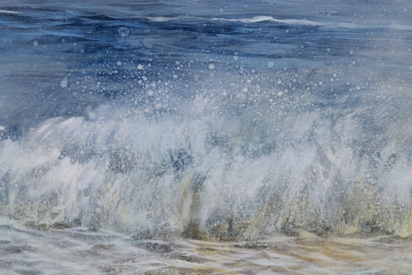 TM8566 On Vacation - close-up of wave with droplets from underpainting showing  through subsequent layers