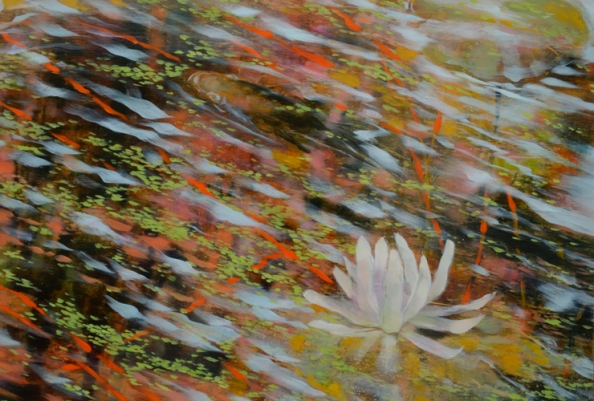 TM8571 Autumn's Lilies - detail from right side with open lily and fish surfacing