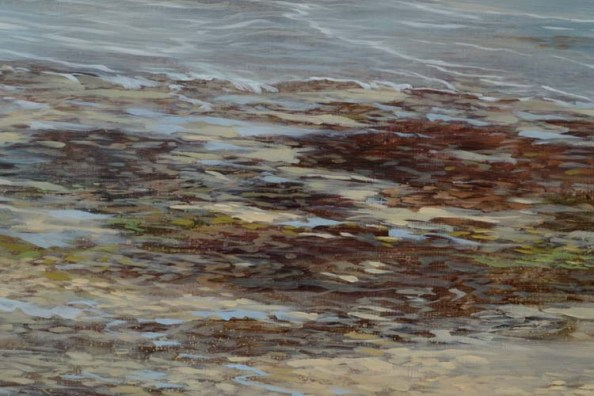 TM8574 September Morning - Wollaston - detail from foreground, left of center, showing seaweed, sand, and stones